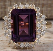 6.53CTW NATURAL AMETHYST AND DIAMOND RING IN 14K SOLID YELLOW GOLD