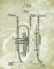 Musical Instruments Patent Poster Art Print Trumpet Band Sheet Music 11x14 PAT79
