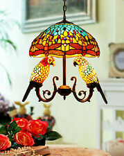 Makenier Vintage Tiffany Stained Glass Dragonfly + Parrots Pendant Hanging Lamp