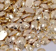 50 x Gold Sew on  rectangle Diamante Crystal Gems Rhinestone Bling 10x14mm