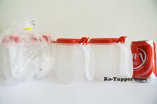 2 sets Salt N Spice container (4) red preparation 500ml pantry Tupperware