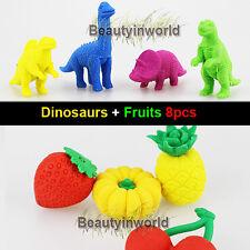 Cute Erasers of Lovely Dinosaus Fruit Cartoon Erasers Kid Children Creation 8pcs