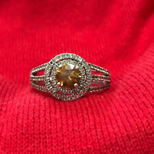 Sterling Silver 925 Round Yellow Citrine Double Halo CZ Women's Ring Size 10