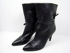 Nine West Ankle Boots Black Leather Women's Size 8 Sexy Stiletto