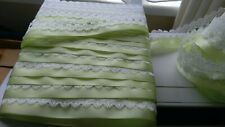 BEAUTIFUL DOVECRAFT WHITE/APPLE GREEN SATIN RIBBON KNITTING IN LACE GORGEOUS