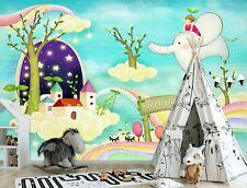3D Cartoon Elephant Zhua8017 Wallpaper Wall Murals Removable Self-adhesive Amy