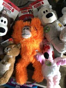 KONG TUGGZ MONKEY XL TUG DOG TOY SQUEAKY Orange With Pull Rope Rings