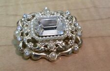 """Coro Signed Crystal Clear Rhinestone Faux Pearl Gold Tone Pin Brooch 1.5"""" across"""