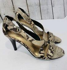 Antonio Melani Women's Size 8.5 Tan Snakeskin High Heel Open Toe Strappy Sandals