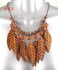 Boho Hippy Ethnic Indian Tribal Brown Leather Leaves Tassels Wood Beads Necklace