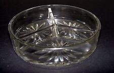 Vintage 3 Section Clear Pressed Glass Nut Bowl - Star burst pattern - E & JB