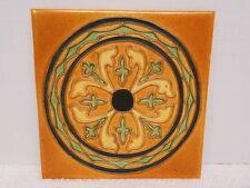 vtg Arts & Crafts Mission Style Orange Ceramic Wheeling Tile Comapany USA