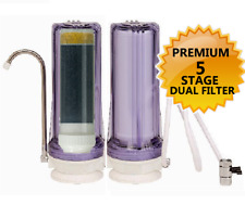 Premium 5-Stage DUAL Counter-Top Water Filtration Filter Sink Drinking System CL