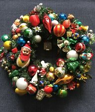 Vintage Christmas wreath retro collectible baubles ornament elf mercury glass