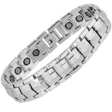 MENS MAGNETIC HEALING BRACELET POLISHED SILVER BANGLE - ARTHRITIS PAIN RELIEF 38