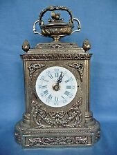 Antique Louis XVI Clock French Style Mantel Cartel Gold Tone Works Electric Cord