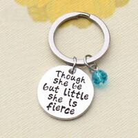 *UK* 925 Silver Plt 'Though She Be But Little She Is Fierce' Engraved Keyring