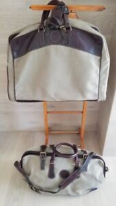 VTG  HOLLAND SPORT   Merrill Lynch Canvas Leather  Garment And Doctors 2Bags Set