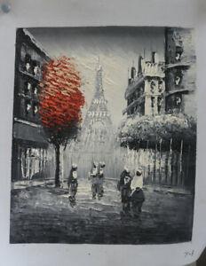 Paris Street Scene Eiffel Tower Hand Painted Oil Painting Home Decor Wall Art 08