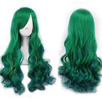 68 cm Women Fashion Lady Long Curly Wavy Hair Party Cosplay Full Wig Green