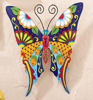 Vera Bradley Themed Colorful Floral Butterfly Metal Garden Fence Wall Sculpture