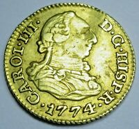 Authentic 1774 Spanish Gold 1/2 Escudo Old Antique Pirate Doubloon Treasure Coin