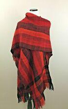 Manos Del Uruguay Woven Spun Virgin Wool Black Red Poncho Scarve Wrap