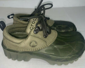 CROCS Axle Camo Army sz kids  J 1 / 3 Lace Up Shoes Hunt Camp Fish Boat Loafers