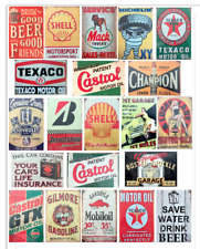 21 VINTAGE GARAGE RETRO SIGNS DECALS FOR GAS STATION DECOR 1:24 Scale Diorama !