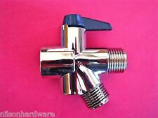 2 Way Shower Diverter Valve Brass Head Arm Flow Handheld Fixed Showerhead