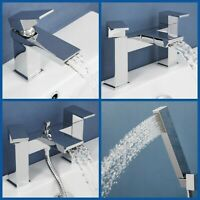 Waterfall Mono Basin Sink Mixer Tap Bath Shower Filler Showerhead Chrome Modern