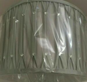 """SILVER GREY 12"""" PINCH PLEAT WITH DIAMANTES LORNA CYLINDER DRUM LIGHT SHADE"""