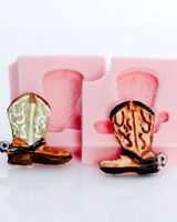 Cowboy boot silicone mold set - polymer clay mold, resin mold, food mold  (219)