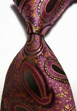 New Classic Paisleys Purple Gold JACQUARD WOVEN 100% Silk Men's Tie Necktie
