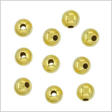 30x 18kt Gold on Sterling Silver Seamless Round Spacer Crimp Beads 3mm #97192