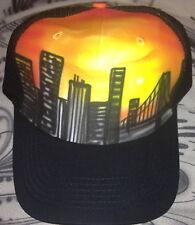 Designer aerógrafo trucker con malla ny skyline Sunset graffiti hawai ha cap con
