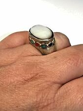 Pearl Round Coral Turquoise Stone Ring Signed Se Sterling Silver Oval Mother of