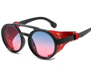 Retro Round Goth Steampunk Sunglasses Side Shields Men Women Finnegan Glasses