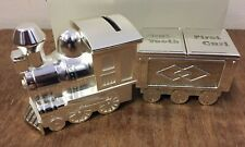 Christening Gift Baby Baptism Silver Plated Train Money Box w First Curl & Tooth