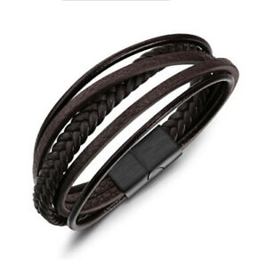 Men's Braided Leather Stainless Steel Bracelet Multi-Layer Rope Magnetic Wrist