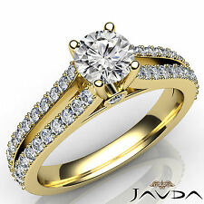 Round Diamond Engagement Split Shank Ring GIA G Color SI1 18k Yellow Gold 1.36Ct