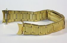 20mm Curved Oyster Style Gold Tone Stainless Metal Watch Band Bracelet