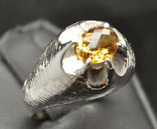 1.3 CT GOLDEN CITRINE .925 STERLING SILVER MENS THICK CLAW RING SIZE 9.75 9 GR