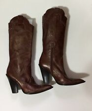 BCBGirls Brown Leather Cowboy Western Boots Shoe 7.5 B / 37 1/2 Women