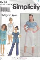 Simplicity Girls w/ Plus Sizing Dress or Top & Knit Pants #8714 Sz 7-14 8.5-16.5