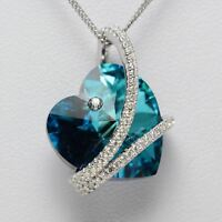 Solid 925 Sterling Silver Blue Topaz Cubic Zirconia Gemstones Necklace Pendant