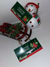 Two Chrostmas Ornaments. A Snow Man And Sled