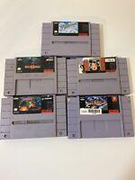 Lot of 5 Super Nintendo Games Uncleaned Untested MORTAL KOMBAT II GRADIUS III