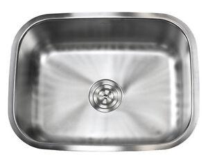 """23"""" Stainless Steel 16 Gauge Undermount Single Bowl Kitchen Sink"""