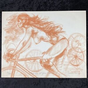 Connie King Catch Me If You Can Lithograph SIGNED 97/395 Nudes Art Woman Biking